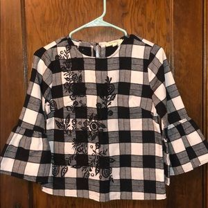 Rebellion brand black and white plaid, floral top